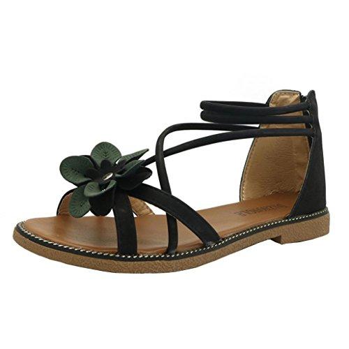 Hlhn Sandales Femme, Bohême Rome Fleur Cheville Plat Bout Ouvert Chaussures De Loisirs Talon Bas Plage Dame Décontractée D'été Élégant Noir