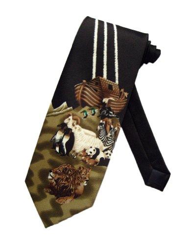Parquet Men's Black Noah's Ark Bible Story Religious Necktie Neck Tie Neckwear