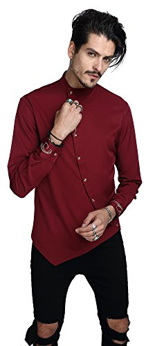 Whatlees Mens Long Sleeve Extra Long Embroidery Design Party Club Button Down Dress Shirt B404-Red-S