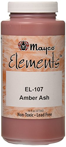 """Mayco EL107P Elements Non-Toxic Glaze, 1 pint Bottle, 6"""" Height, 2.75"""" Width, 2.75"""" Length, Amber Ash"""