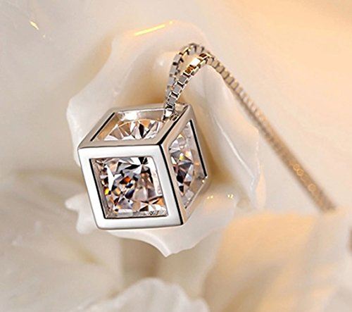 Joyfulshine 925 Sterling Silver High End Crown Jewelry Princess Crystal Pendant Necklace For Women