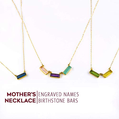 Personalized Mother's Necklace with Engraved Kid's Names and Birthdays, Modern Geometric Gemstone Bar Necklace [AB] (Geometric Gemstone Necklace)