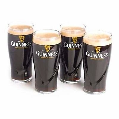 Pint Guinness (Guinness Gravity 20oz. Embossed Pint Beer Glasses 14K Gold Harp Logo / Gift Boxed (4 Pack))