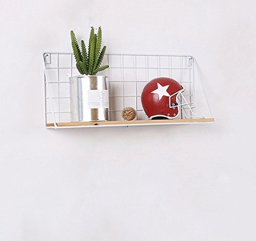 Easy Chic Industrial Metal Wire Wood Wall Shelf Modern Loft Dorm Storage Shelf Black White Natural (Pack of 2(Small+large), White) ECH