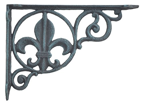 - Wall Shelf Bracket Brace Fleur De Lis Pattern Verdigris Cast Iron 8.625