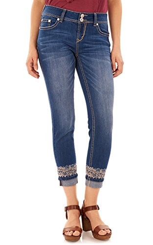 WallFlower Juniors Luscious Curvy Skinny Embroidered Ankle Jeans In Penny, - 7 Size Juniors