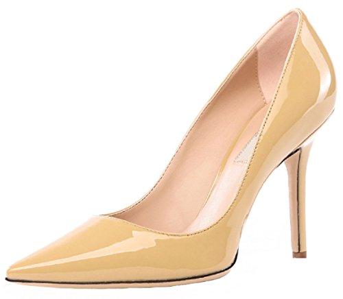 HooH Damen Pointed Toe Stiletto Abendschuhe Pumps 0017 Gelb(heel:10cm)