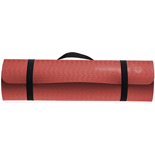 Harbinger Recyclable Foam Eco Fit Exercise Mat 3/8-Inch, Wine