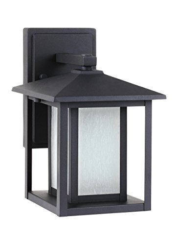 - Sea Gull Lighting 89029EN3-12 Hunnington One-Light Outdoor Wall Lantern with Etched Seeded Glass Panels, Black Finish