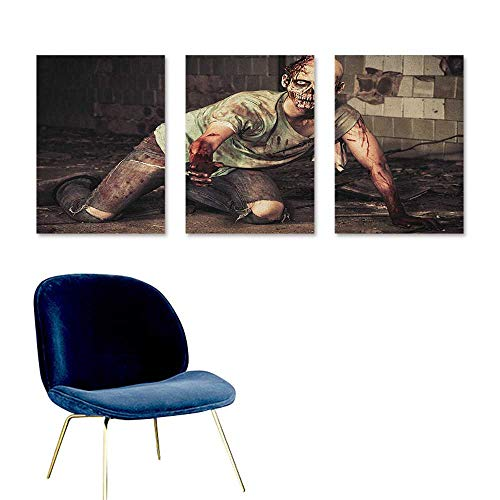 Zombie Original Oil Painting Halloween Scary Dead Man in The Old Building with Bloody Head Nightmare Theme On Canvas Abstract Artwork 3 Panels 16x24inch Grey Mint Peach -