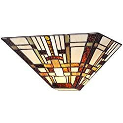Chloe Lighting CH33290MS12-WS1 Tiffany Style Mission 1-Light Wall Sconce, 12-Inch, Multicolored