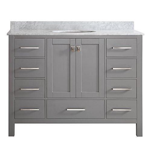 Vinnova 723048-GR-CA-NM Gela 48 inch single Vanity In Grey with Carrera White Marble Top Without Mirror