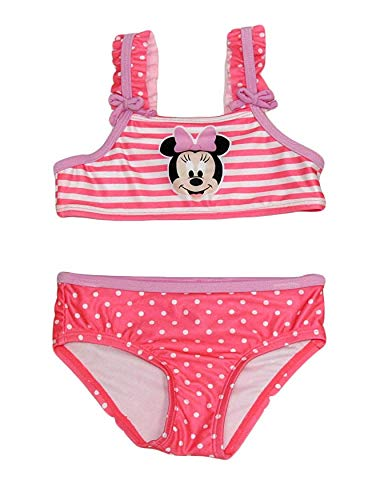 (Disney Minnie Mouse Girls 2-Piece Swim Suit Swimsuit (Hot Pink, 24M))