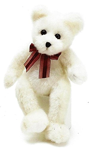 - BNB Plush Polar Teddy Bear 14 inch Tall White Stuffed Animal Snuggle Toy w/ Burgundy Ribbon Bow and Easy Tie Loop for Balloon or Gift tag Black Stitched Nose and Mouth Attached Eyes, One Pal per Order
