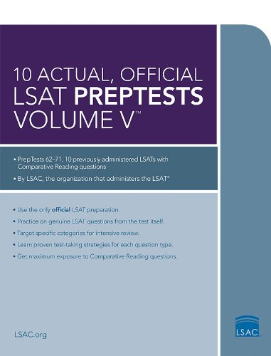 10 Actual, Official LSAT PrepTests Volume V: (PrepTests 62–71) (Lsat Series) by Law School Admission Council cover