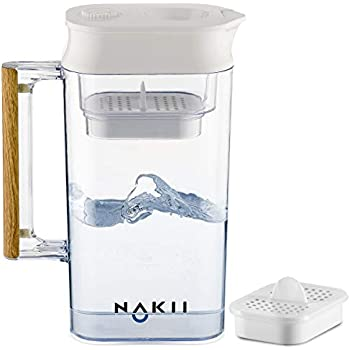 Nakii Water Filter Pitcher - Long Lasting (150 Gallons)   Supreme Fast Filtration and Purification Technology   Removes Chlorine, Metals & Sediments for Clean Tasting Drinking Water   WQA Certified