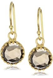 "Kevia ""Rococo"" Rose Cut Smoky Quartz Lace Bezel Drop Earrings"