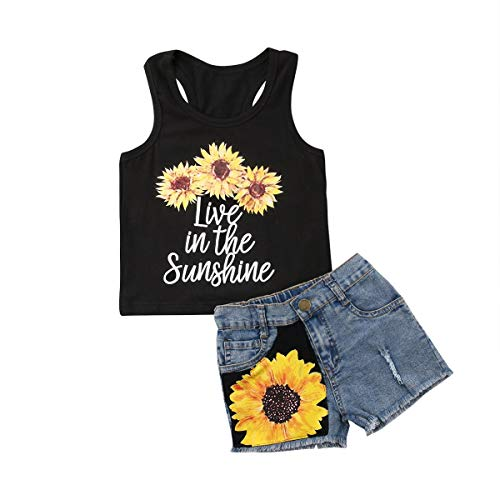 - 2Pcs/Set Toddler Kids Baby Girl Sleeveless T-Shirt Top+Sunflower Denim Jeans Shorts Outfits (Black A, 5-6 Years Old)