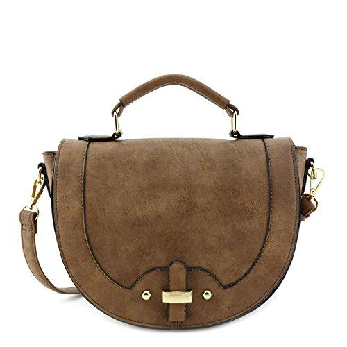 Half Flap Handbag - Half Moon Medium Crossbody Bag Taupe
