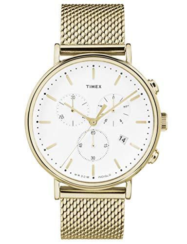 Timex Fairfield Chronograph Gold Tone Mesh Men Watch 41MM TW2R27200