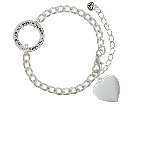 Heart Locket Always My Sister Forever My Friend Affirmation Link Bracelet
