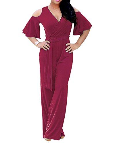 Corta Mujer Monos Jumpsuits rojo Ajustado Romper Pantalones Profesional V Elegante Sólido Cuello Largo Manga Color Vino zYOxwqrpY7