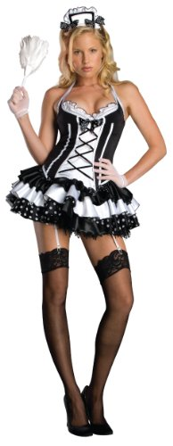 (Secret Wishes Sexy Maid Perfect Costume, Black,)