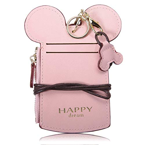 Kyerivs Cute Neck Wallet, Credit Card Holder, Zipper Pouch for Kids and Women (Pink)