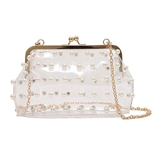 - MILATA Women's Hologram Transparent Cross Body Bag Summer Pearl Decorated Jelly PVC Clutch Purse Bag (transparent)