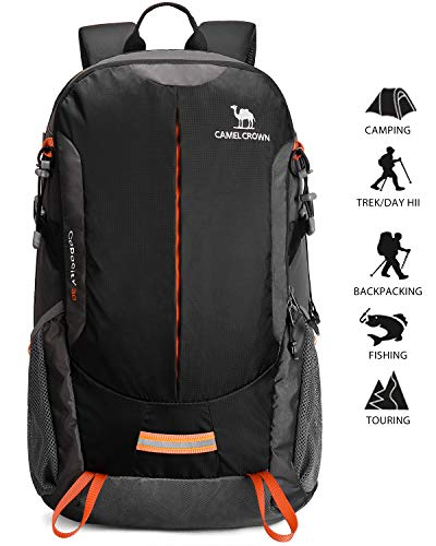 a9b82dafd99a Camel Hiking Backpack Travel Backpack Outdoor Backpack Lightweight    Durable (Black)