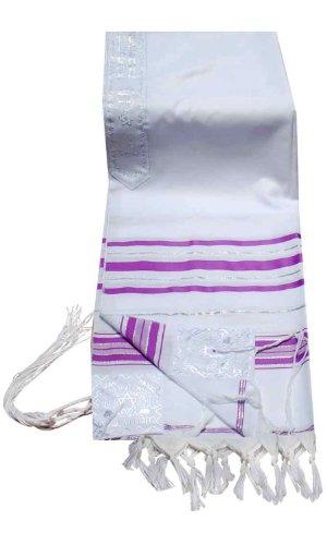 (Talitnia Acrylic Tallit (Imitation Wool) Prayer Shawl Light Purple (Lavender) Stripes in Size 18