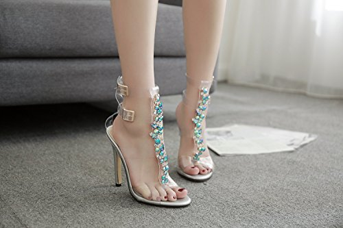 Walking Women's Shoes Buckle PVC Comfort Toe Heel for Party Shoes Summer Open Club Fall Outdoor Novelty Wedding Sandals Shoes A Stiletto gwgqBrxz