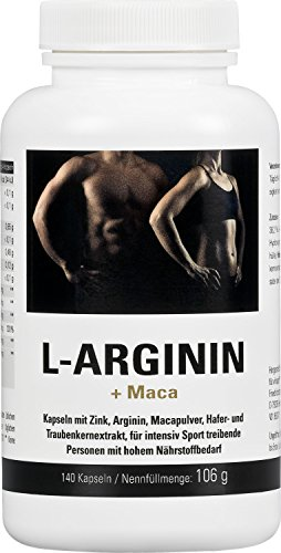 Vihado L-Arginin 1200 mg hochdosiert, Maca 1000 mg, Zink + Traubenkernextrakt OPC, 140 Kapseln, 1er Pack (1 x 106 g)