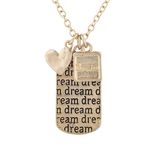 Lux Accessories Gold Tone Heart Dream Multi Charm Dog Tag Necklace
