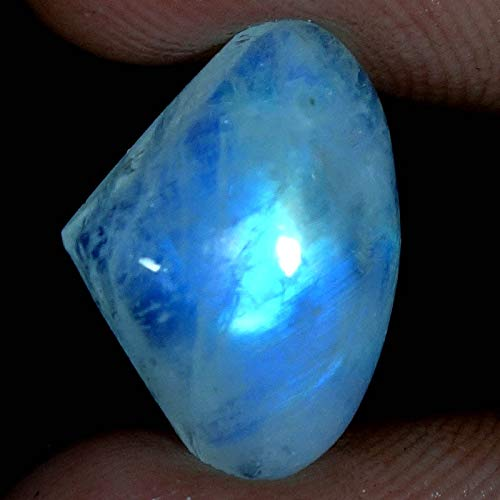 dadu_creation 6.40CTs.100% Natural Blue Flashing Rainbow Moonstone Heart CABOCHON Gemstone