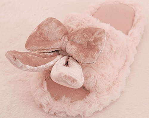 Cattior Womens Cute Bunny Slippers House Indoor Ladies Slippers Open Toe Pink