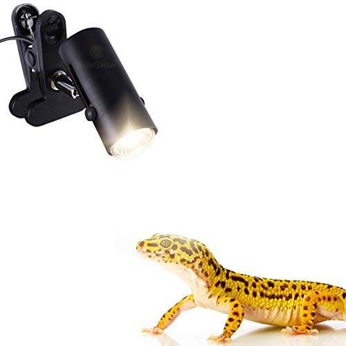 110-volt Heat Light Fixture for Reptiles - Unique 360° Rotating Lamp Head - Securely Clamps or Hangs in Your Turtle, Snake, Lizard, Amphibian Tank - Supports Both E26/E27 Socket - Bulb not Included ()