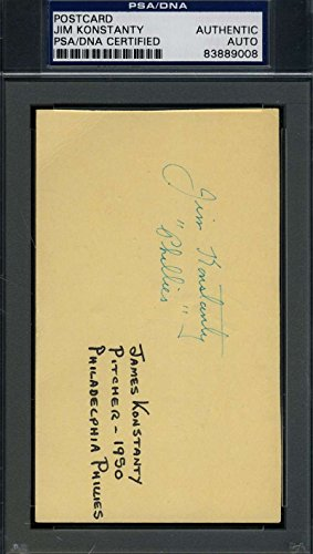 JIM KONSTANTY 1950 SIGNED PSA/DNA GPC GOVERNMENT POSTCARD AUTHENTIC AUTOGRAPH
