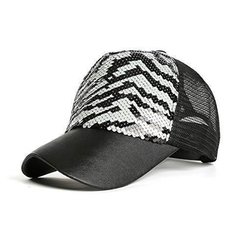 CHIC DIARY Women Mermaid Magic Sequin Adjustable Baseball Cap Hip Hop Snapback Hat Mesh Trucker Sun Hat Cap (#01-White)