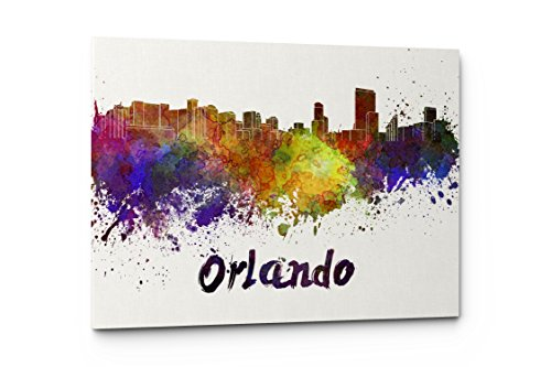 Orlando Painting - Watercolor City Splash Skyline Wall Art Canvas Print (Orlando)