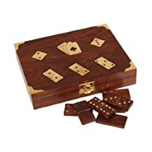 Black Friday Decorative Wood Double Decks Playing Card Box Holder Case with Dominoes Set Brass Inlay