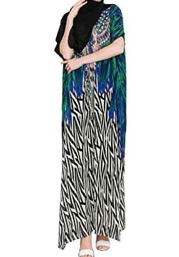 Green Arab Islamic Coolred Floral Long Women Print Dress Kaftan Muslim zqzFOHw
