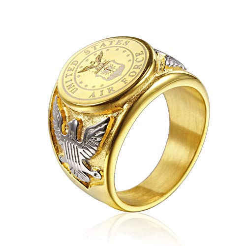 JAJAFOOK Vintage Titanium Steel US Military Air Force Ring Eagle Medal Rings for Men, Silver/Gold/Black (Gold with Silver, 13)