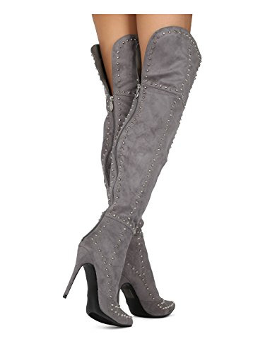 Alrisco Women Pointy Toe Stiletto OTK Thigh High Studded Stiletto Boot - Dressy Party Cosplay Costume Special Occasion Tall Boot - HE63 Mackin J Collection Grey Faux Suede with paypal clearance sast IoDR7tKeJ