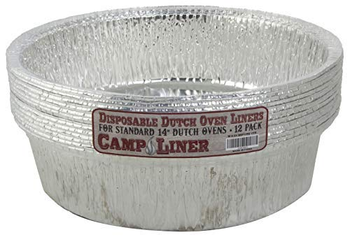 Campliner Dutch Oven Liners, 12 Pack of 14-Inch 8 Quart Disposable Liners - No More Cleaning or Seasoning. Fits Lodge, Camp Chef, and other Cast Iron Dutch Ovens (8 Qt Camp Dutch Oven)