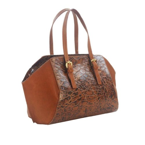 HS 5179 CC ORIA Made in Italy Leather Tan Croc Embossed Shoulder/Crossbody Bag, Bags Central