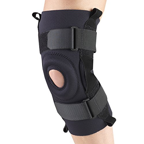 OTC Knee Stabilizer, Hinged Bars, Neoprene, Black, - Neoprene Bar