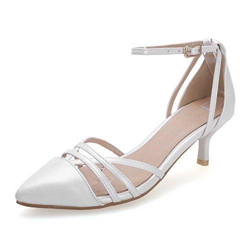 Amoonyfashion Femmes Boucle Pointu Fermé Orteils Chaton Talons Pu Solides Pompes Chaussures Blanc