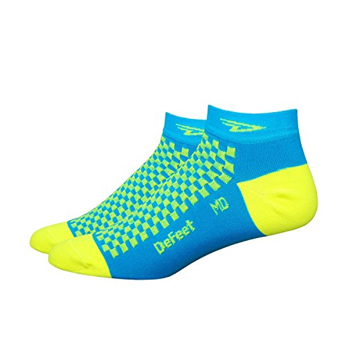 DeFeet Speede Checkerboard Socks, Process Blue/Yellow, - Socks Blue Defeet