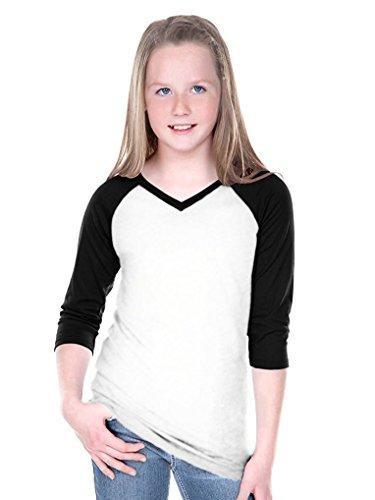 - Kavio! Big Girls 7-16 Sheer Jersey Contrast V Neck Raglan 3/4 Sleeve White/Black L